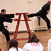 burntwood and cannock taekwondo instructor sean hardwick demonstrates a blind jumping back kick to his students