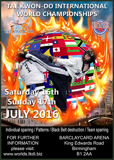 a poster to promote the taekwondo association of great britain world championships 2016